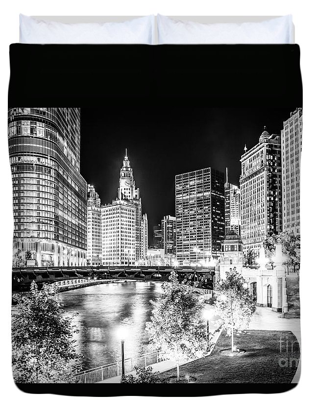 America Duvet Cover featuring the photograph Chicago River Buildings at Night in Black and White by Paul Velgos