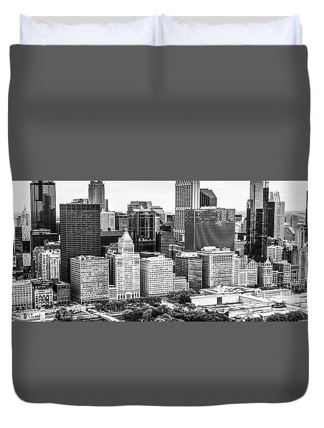 2013 Duvet Cover featuring the photograph Chicago Skyline Aerial Panorama Photo by Paul Velgos