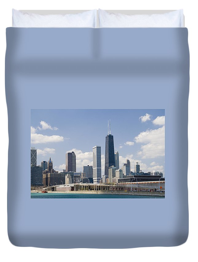 Chicago Duvet Cover featuring the photograph Chicago Skyline by Alexey Stiop