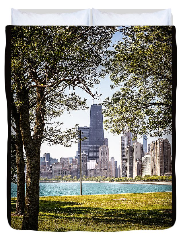 America Duvet Cover featuring the photograph Chicago Skyline And Hancock Building Through Trees by Paul Velgos