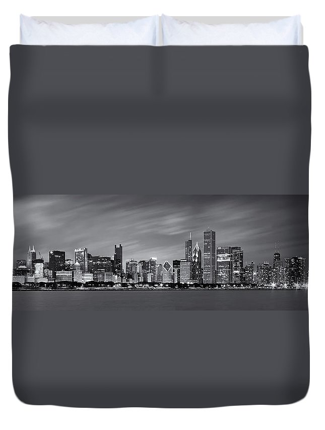 3scape Duvet Cover featuring the photograph Chicago Skyline at Night Black and White Panoramic by Adam Romanowicz