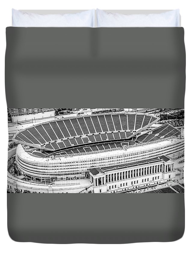 America Duvet Cover featuring the photograph Chicago Soldier Field Aerial Panorama Photo by Paul Velgos