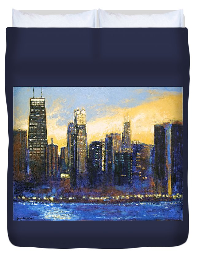 Chicago Skyline Duvet Cover featuring the painting Chicago Sunset Looking South by Joseph Catanzaro