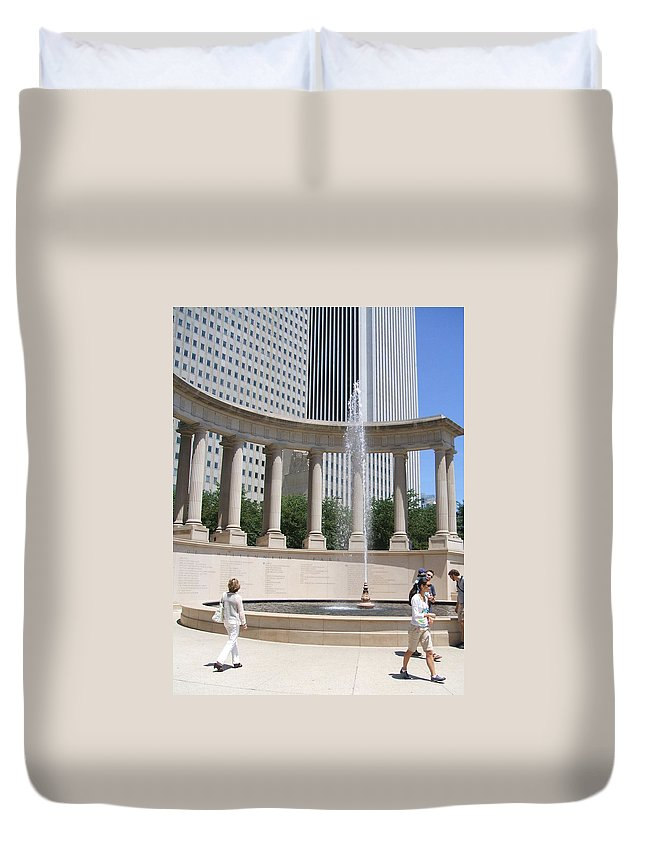 Chicago Duvet Cover featuring the photograph Chicago Tourism by Minding My Visions by Adri and Ray