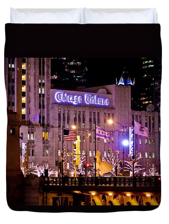 Chicago Duvet Cover featuring the photograph Chicago Tribune by John McGraw