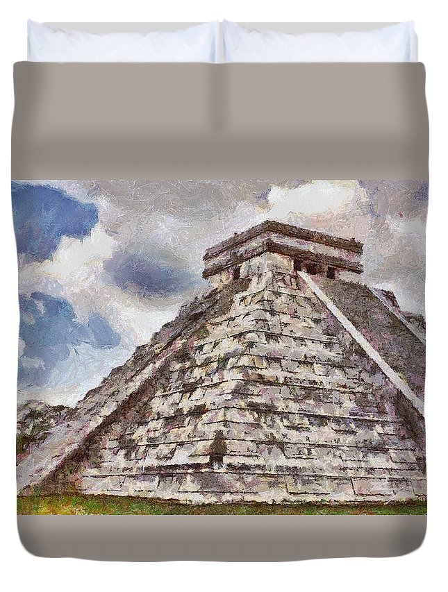 Yucatan Duvet Cover featuring the painting Chichen Itza by Jeffrey Kolker