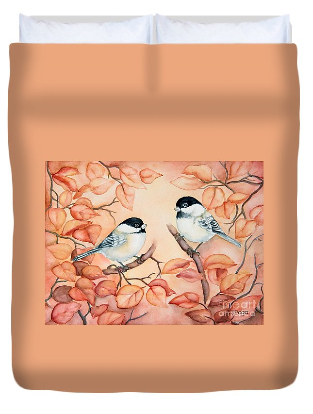 Bird Art Duvet Cover featuring the painting Chickadees by Inese Poga