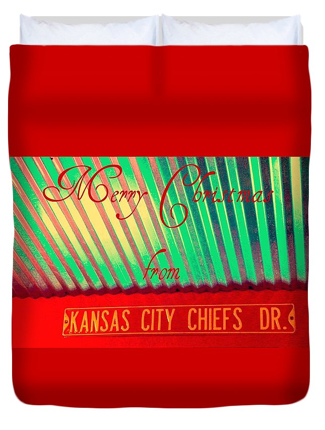 Christmas Duvet Cover featuring the photograph Chiefs Christmas by Chris Berry