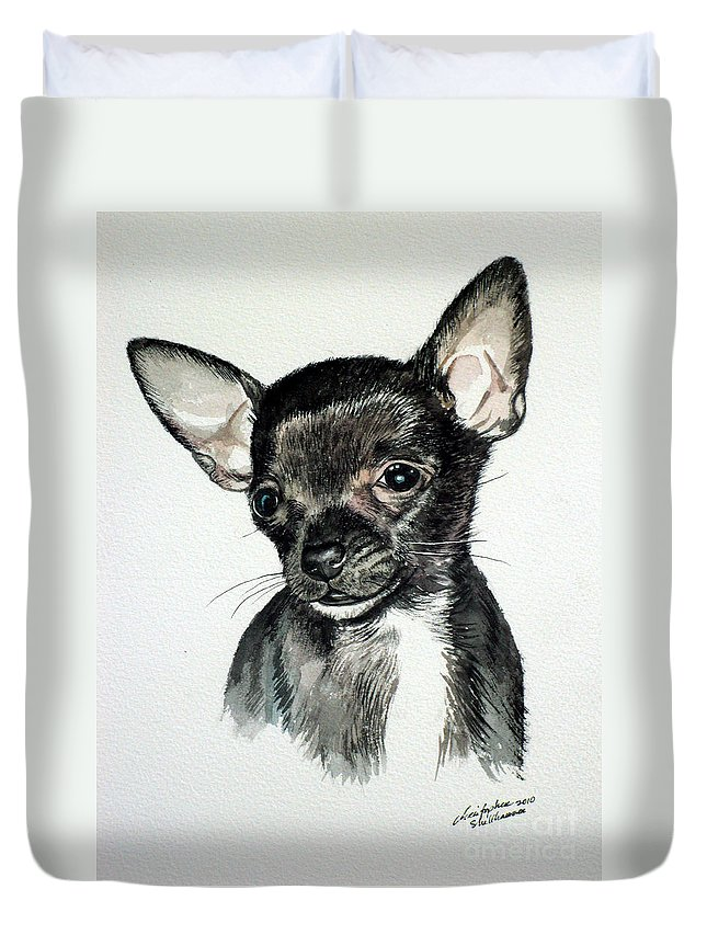 Dog Duvet Cover featuring the painting Chihuahua Black 2 by Christopher Shellhammer