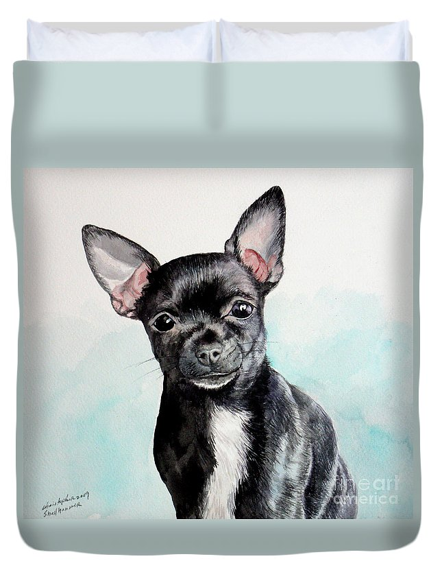 Dog Duvet Cover featuring the painting Chihuahua Black by Christopher Shellhammer