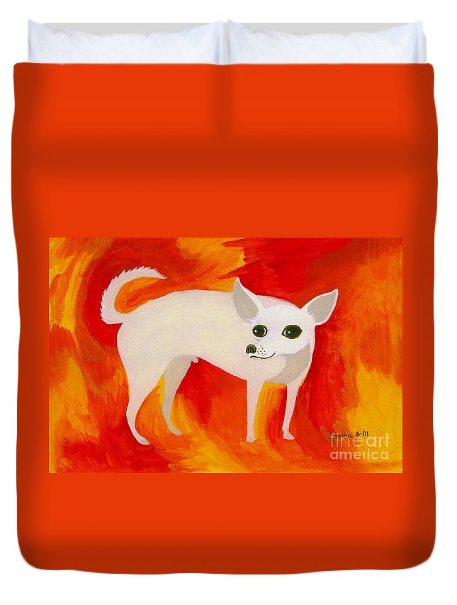 Chihuahua Duvet Cover featuring the painting Chihuahua En Fuego by Lori Ziemba