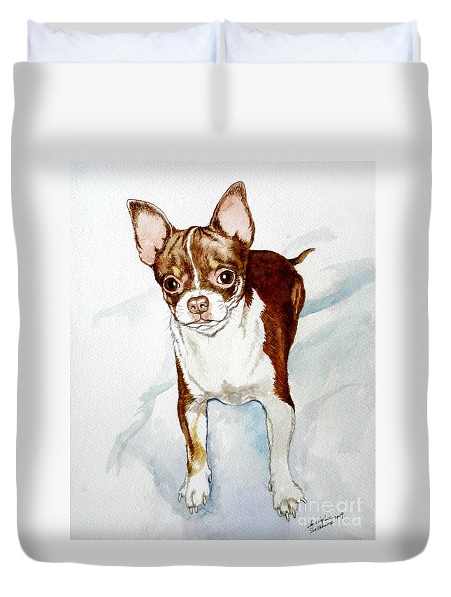 Dog Duvet Cover featuring the painting Chihuahua White Chocolate Color. by Christopher Shellhammer