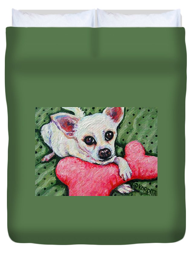 Rebecca Korpita Duvet Cover featuring the painting Chihuahua Who Came To Visit by Rebecca Korpita
