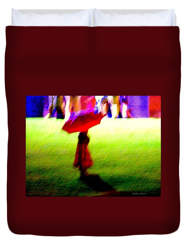 Child With Umbrella Duvet Cover featuring the photograph Child In The Rain by Bob and Kathy Frank