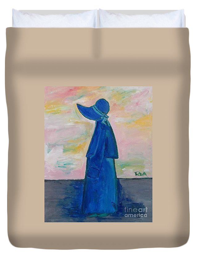 Cloak Duvet Cover featuring the painting Child by J Nell Bliss