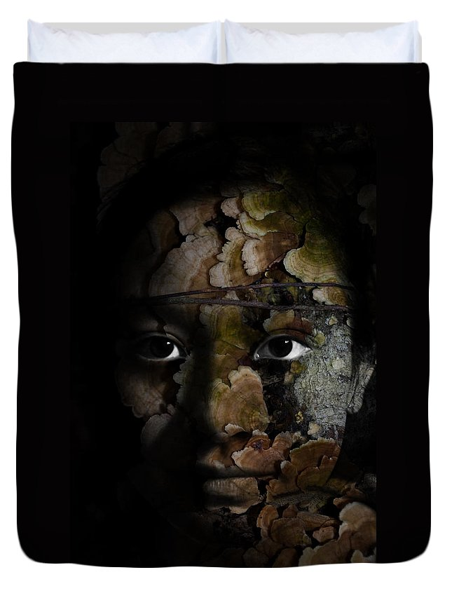 Child Duvet Cover featuring the painting Child Of The Forest by Christopher Gaston