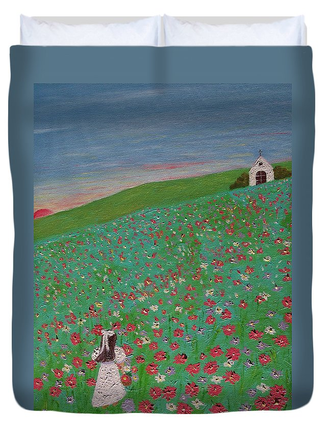 Impressionism. Child Duvet Cover featuring the painting Childhood by Inge Lewis