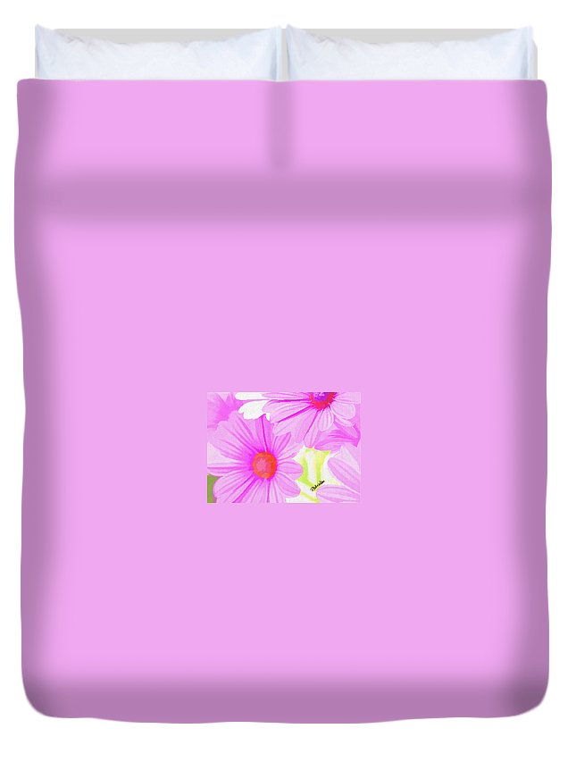 Pink Daisies Duvet Cover featuring the digital art Childhood Innocence by Peggy Gabrielson
