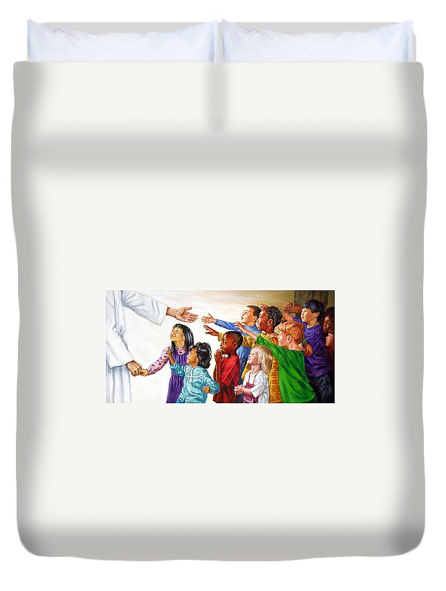 Jesus Duvet Cover featuring the painting Children Coming To Jesus by John Lautermilch
