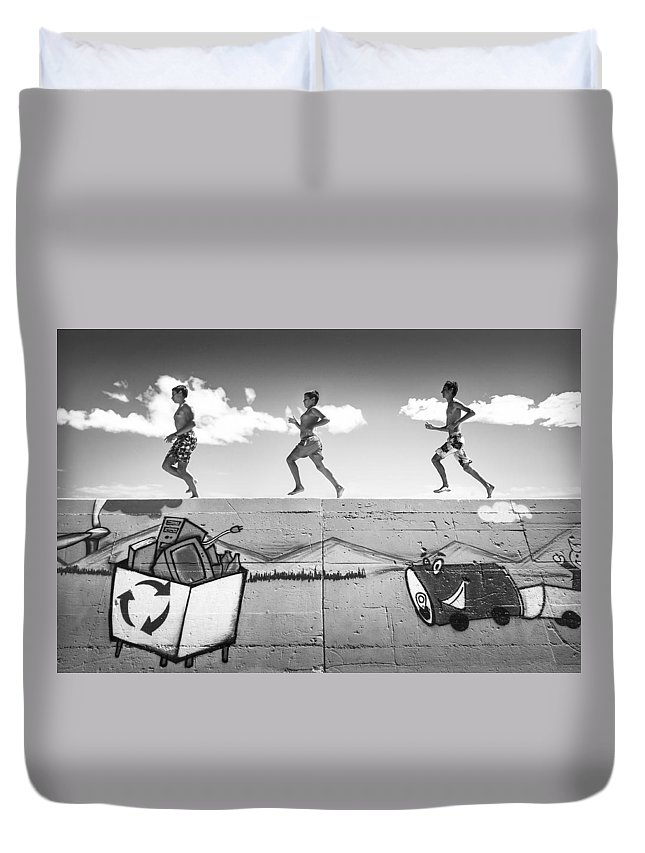 Running Duvet Cover featuring the photograph Child's Play by Viktor Bogdanov