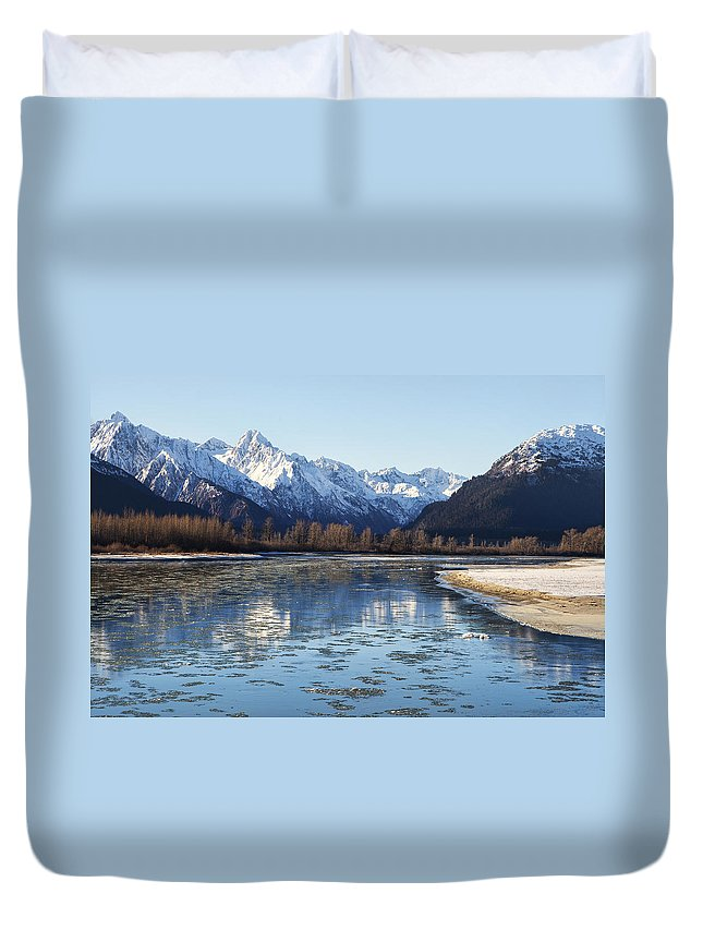 Alaska Duvet Cover featuring the photograph Chilkat River Freeze Up by Michele Cornelius