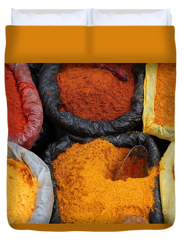Chili Duvet Cover featuring the photograph Chilli Powders 2 by James Brunker