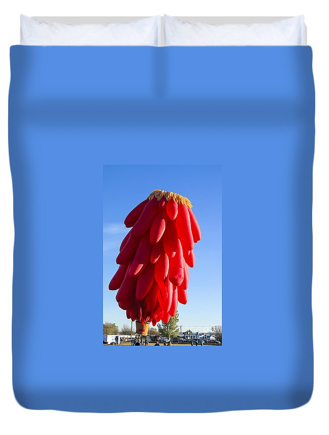 New Mexico Duvet Cover featuring the photograph Chilli Ristra Balloon by Steven Ralser