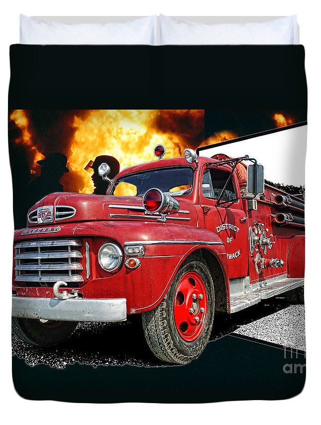Fire Trucks Duvet Cover featuring the photograph Chilliwack Fire-coming Out Into The Fire by Randy Harris