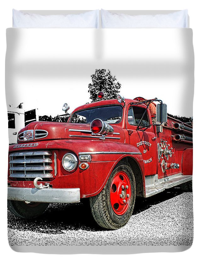 Old Fire Trucks Duvet Cover featuring the photograph Chilliwack Fire- Mercury Firetruck by Randy Harris