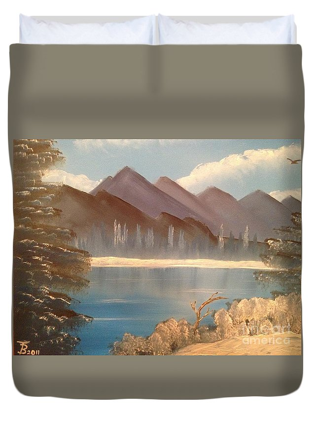 Original Duvet Cover featuring the painting Chilly Mountain Lake by Tim Blankenship