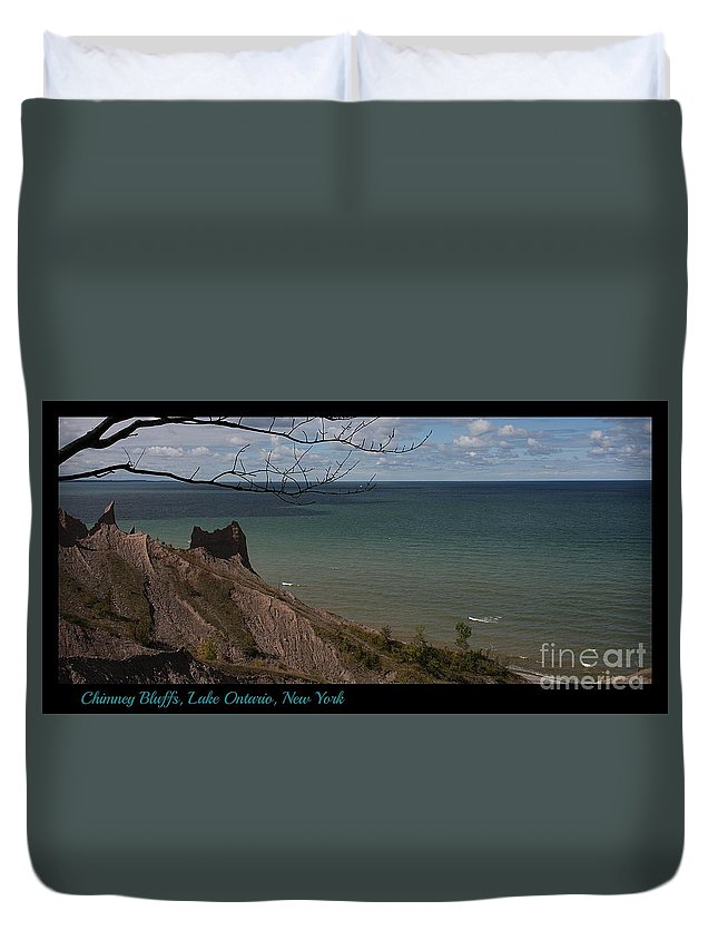 Upstate New York Duvet Cover featuring the photograph Chimney Bluffs Lake Ontario New York by Brenda McGee-Paap