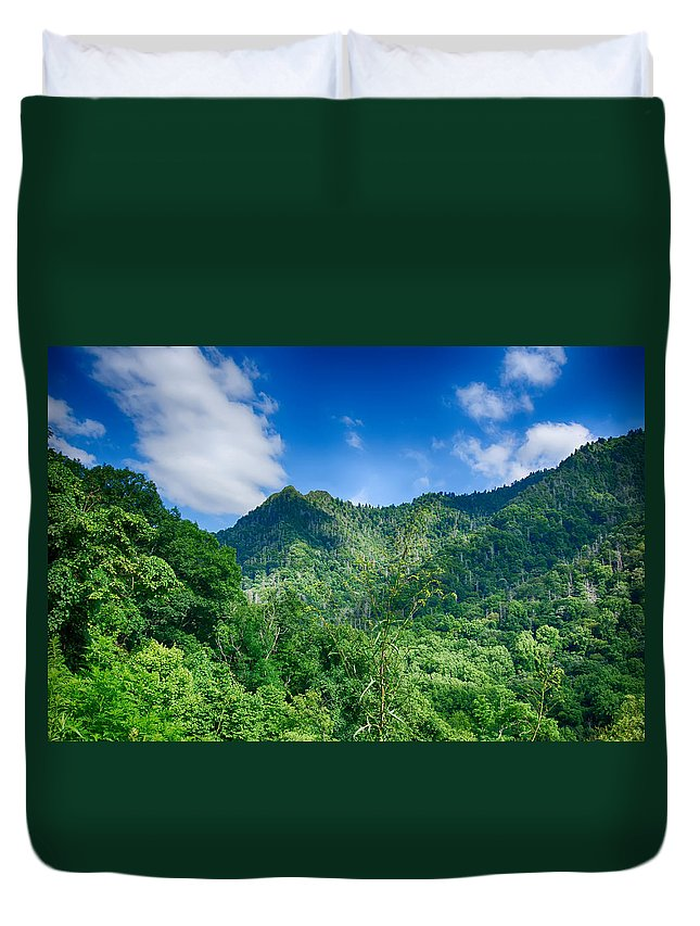 America Duvet Cover featuring the photograph Chimney Tops Mountain In Great Smoky Mountains by Alex Grichenko