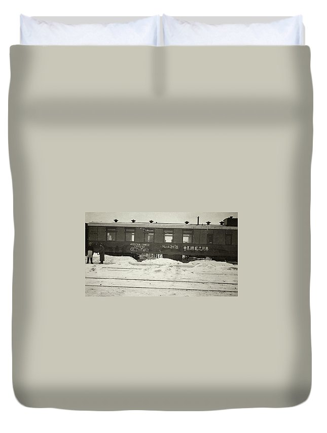 1918 Duvet Cover featuring the photograph China Railroad, 1918 by Granger