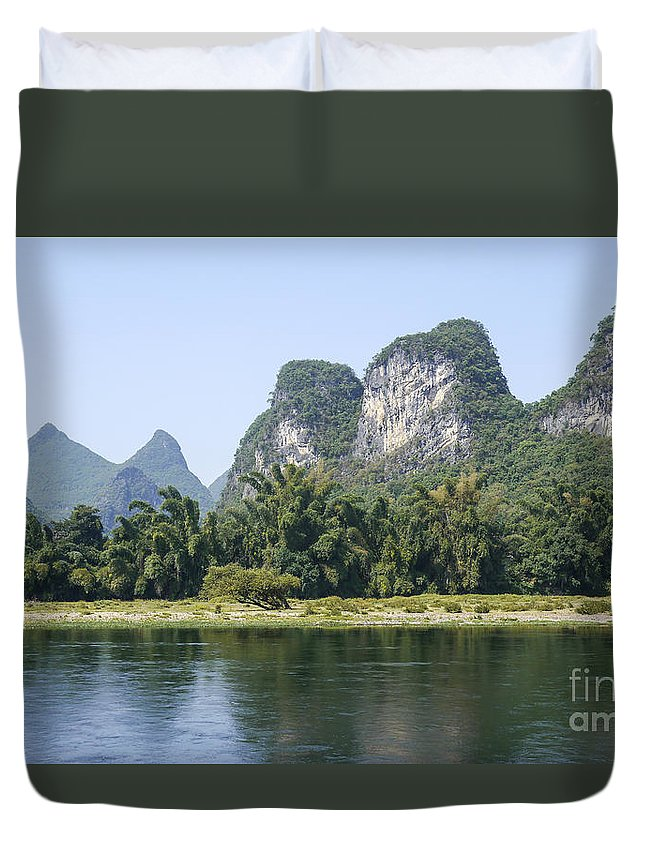 Karst Duvet Cover featuring the photograph China Yangshuo County Li River by Moshe Torgovitsky
