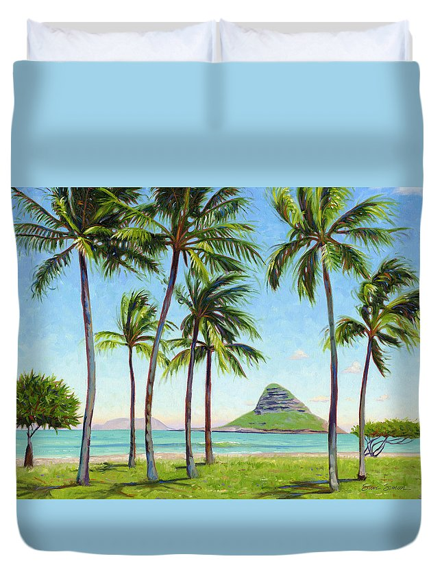 Chinamans Hat Duvet Cover featuring the painting Chinamans Hat - Oahu by Steve Simon