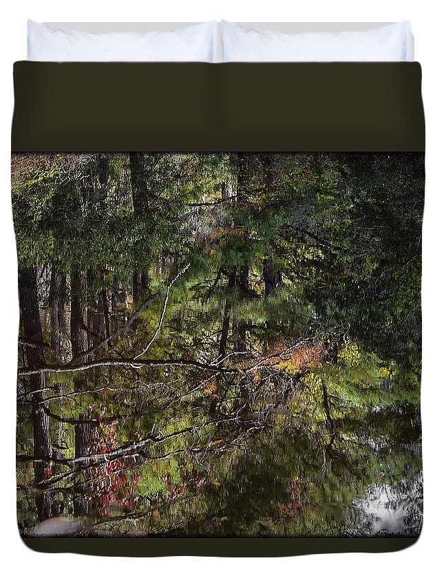 Water Duvet Cover featuring the photograph Chincoteague Reflection by Erika Fawcett