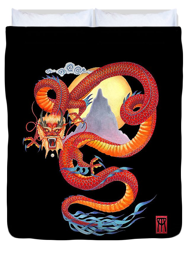 Dragon Duvet Cover featuring the painting Chinese Dragon on Black by Melissa A Benson