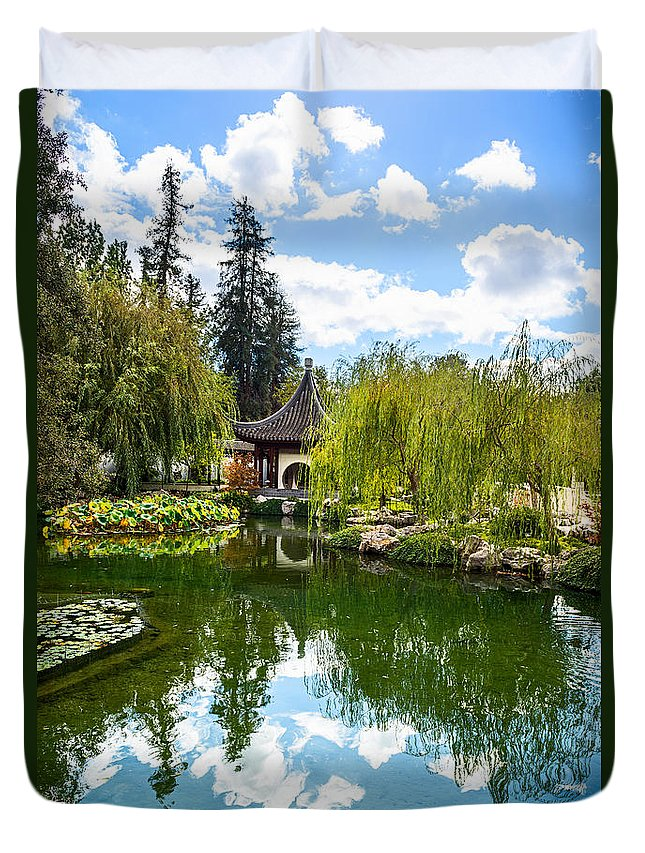 Chinese Garden Duvet Cover featuring the photograph Chinese Garden And Sky by Jamie Pham