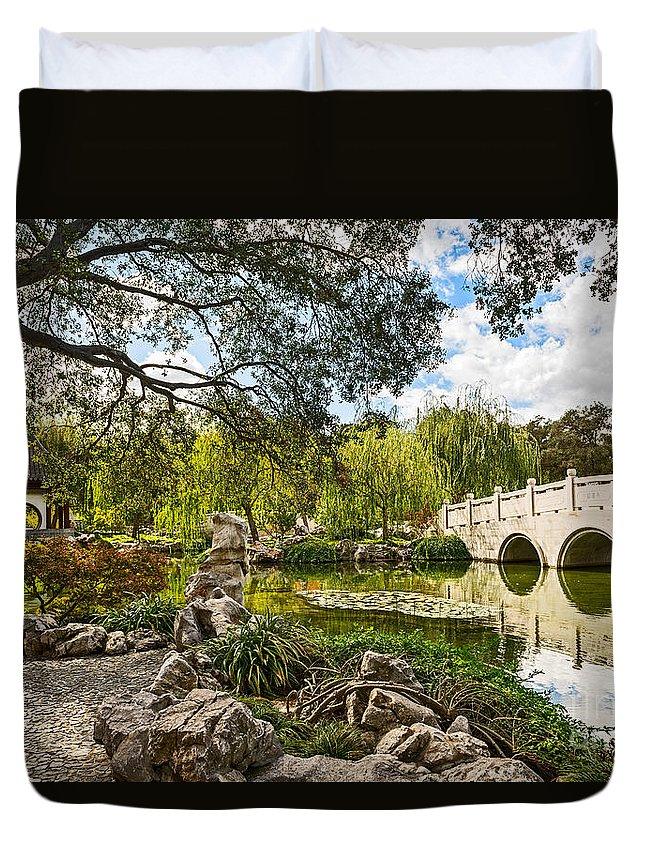 Chinese Garden Duvet Cover featuring the photograph Chinese Garden Bridge by Jamie Pham
