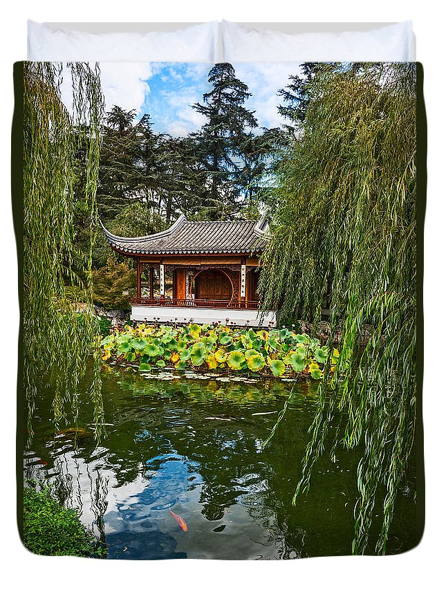 Chinese Garden Duvet Cover featuring the photograph Chinese Garden Dream by Jamie Pham