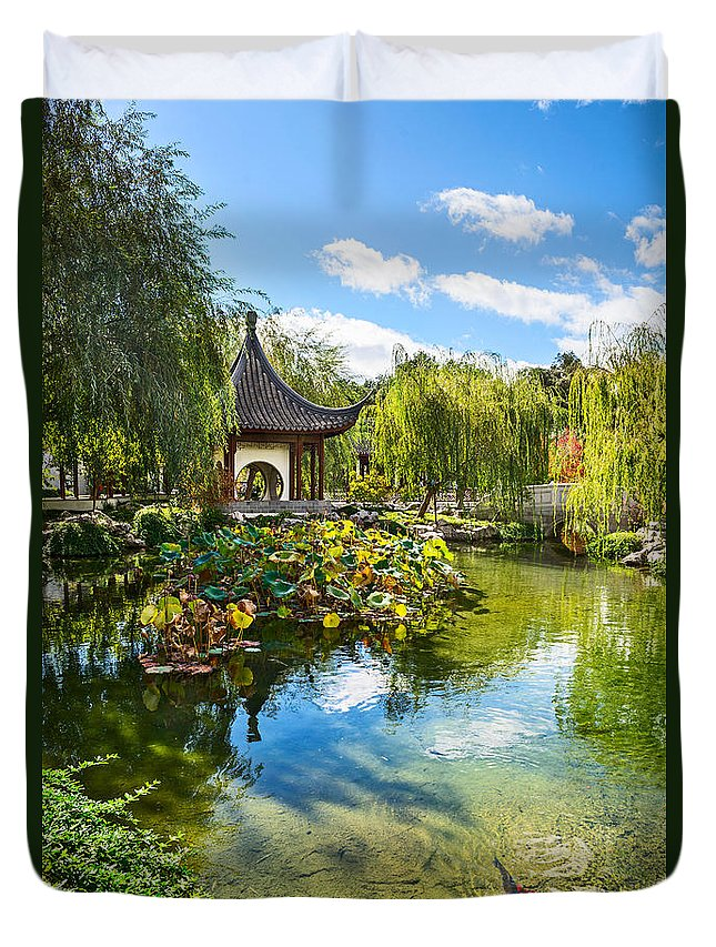 Chinese Garden Duvet Cover featuring the photograph Chinese Garden Lake by Jamie Pham