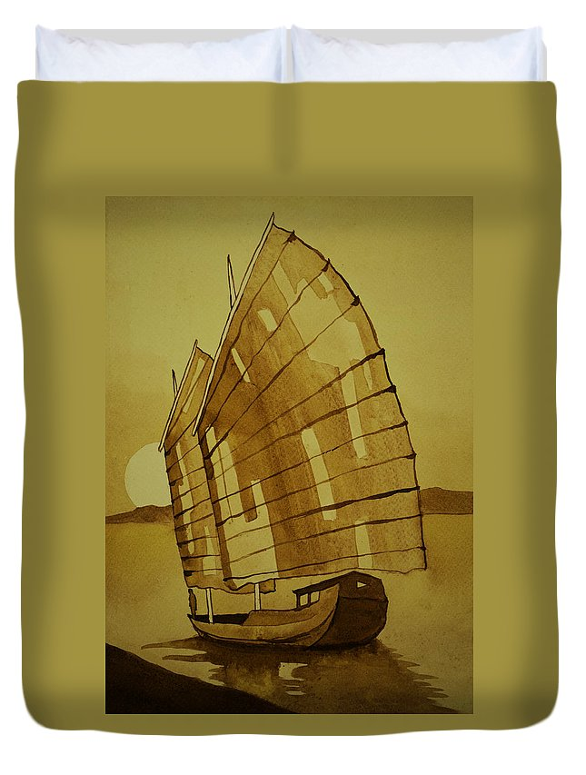 Asia Duvet Cover featuring the painting Chinese Junk Boat by Daniel P Cronin