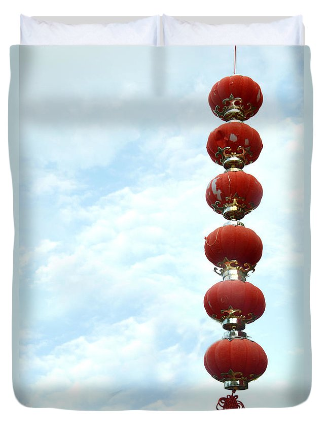 Red Duvet Cover featuring the photograph Chinese Red Lampion by Antoni Halim