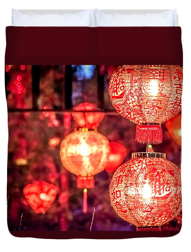 Art Duvet Cover featuring the photograph Chinese Red Lantern by Jijo George