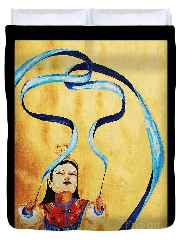 Chinese Duvet Cover featuring the painting Chinese Ribbon Dancer Blue Ribbon by Cris Motta