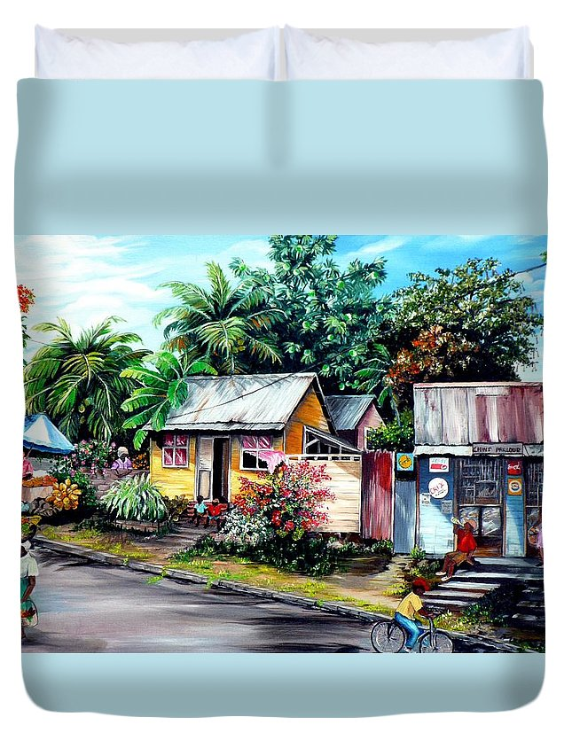 Landscape Painting Caribbean Painting Shop Trinidad Tobago Poinciana Painting Market Caribbean Market Painting Tropical Painting Duvet Cover featuring the painting Chins Parlour   by Karin Dawn Kelshall- Best
