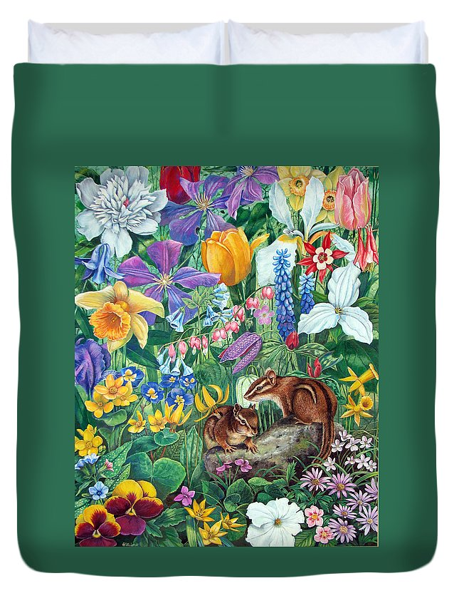 Chipmunk Duvet Cover featuring the painting Chipmunk Garden by Sandy Williams