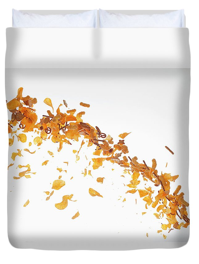 Curve Duvet Cover featuring the photograph Chips, Pretzels And Savory Snacks by Dual Dual