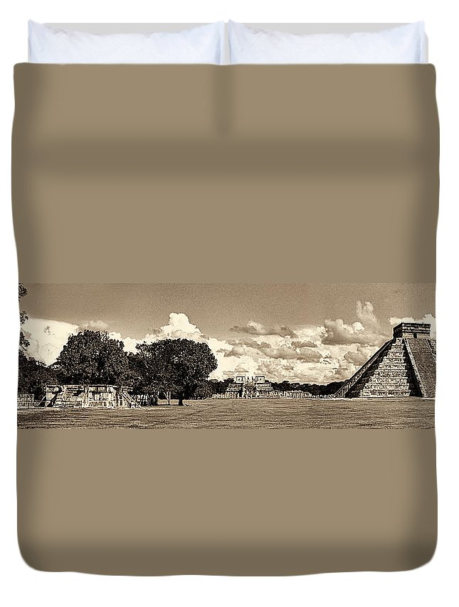 Chichen Itza Panorama Duvet Cover featuring the photograph Chitzen Itza Panorama Sepia by Weston Westmoreland