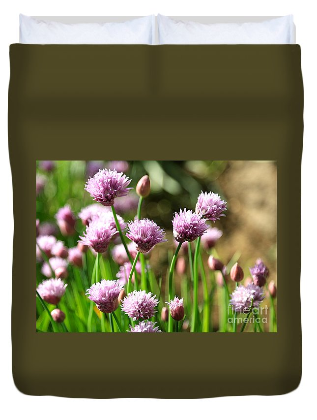 Chives Duvet Cover featuring the photograph Chives by Carol Groenen